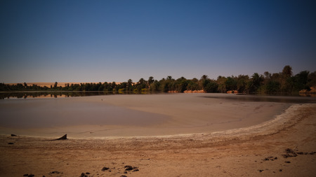 Panoramic view to Teguedei lake , Ennedi, Chad