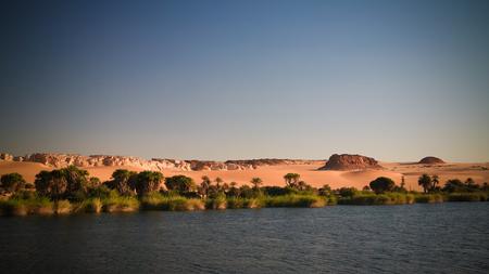 Panoramic view to Boukkou lake group of Ounianga Serir lakes , Ennedi, Chad Archivio Fotografico