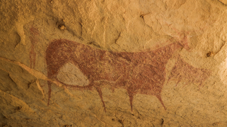 Cave paintings and petroglyphs in Terkei Cave aka biggest cow in Ennedi, Chad
