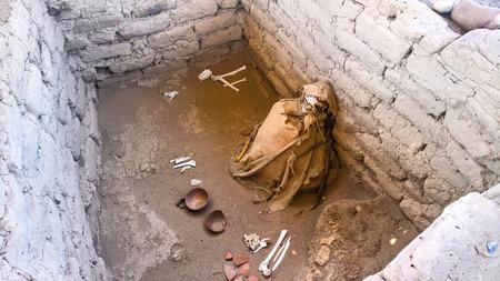 Ancient preinca nazca civilisation cemetery of Chauchilla at Nazca, Peru