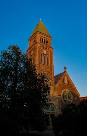 Sunset view to Vasa church aka Vasakyrkan in Goteborg, Sweden Stock Photo