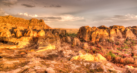 Abstract Rock formation in Isalo national park at sunset in Madagascar
