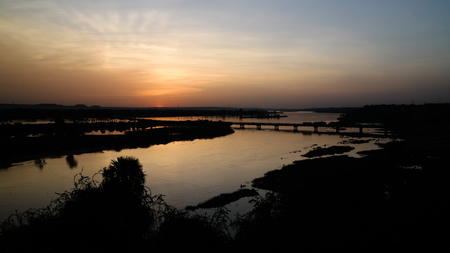 Aerial view to Niger river in Niamey at sunset, Niger Stock Photo