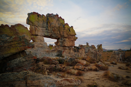 Abstract Rock formation aka window at Isalo national park at sunset in Madagascar