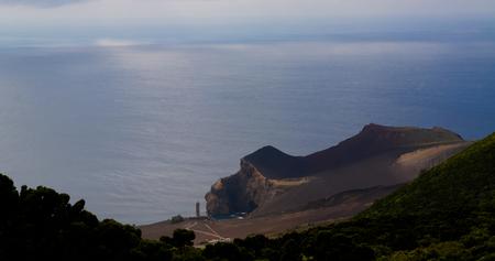 Landscape to Capelinhos volcano caldera , Faial, Azores Portugal