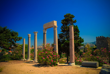 Panorama view to colonnade of Ancient Byblos ruin at Jubayl, Lebanon 写真素材
