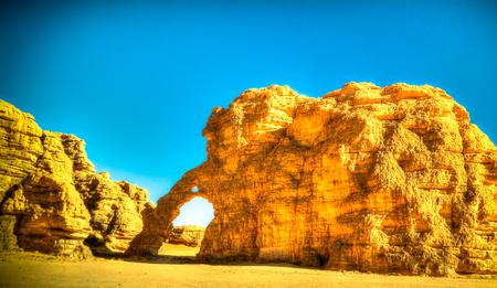 Abstract Rock formation at Tegharghart aka elephant in Tassili nAjjer national park in Algeria Archivio Fotografico