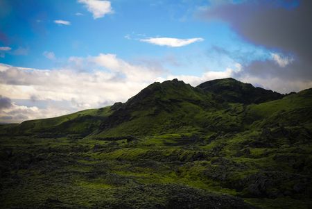 Landscape of Lakagigar valley and Laki craters in central Iceland Фото со стока