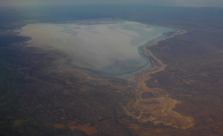 Aerial Panorama view to saline Barsa Kelmes lake and Ustyurt plateau , Karakalpakstan, Uzbekistan Stock Photo