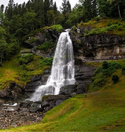 Panoramic view to Steinsdalsfossen waterfall at Steinsdalselva river, Norheimsund, Norway Stock Photo