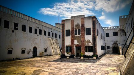 view to Elmina castle and fortress with church - 09 november 2015 Ghana