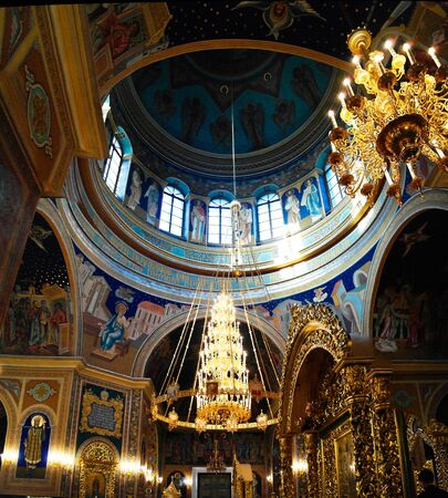 Interior view to The Metropolitan Cathedral Nativity of the Lord - 28 april 2012 Chisinau, Moldova 에디토리얼
