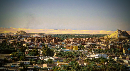 Panorama of old city Shali and mountain Dakrour , Siwa oasis, Egypt
