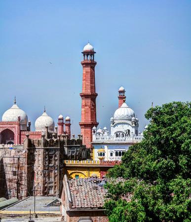 Panorama view of Lahore fort, Badshahi mosque and Samadhi of Ranjit Singh in Lahore, Punjab, Pakistan