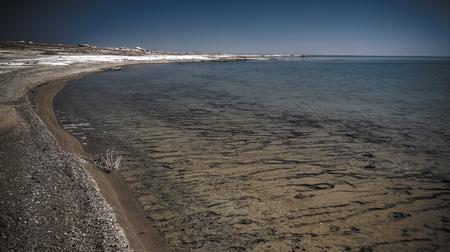 Panorama view to Aral sea from the rim of Plateau Ustyurt near Duana cape , Karakalpakstan, Uzbekistan Reklamní fotografie