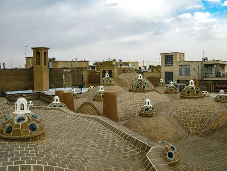 Roof view to traditional persian Borujerdi house with cooling tower - 21 february 2009 Kashan, Iran