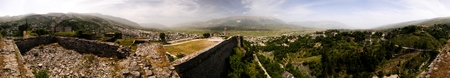 360 degrees Panoramic view to Gjirokastra castle with the wall, tower and Clock, Gjirokaster, Albania Фото со стока