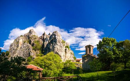 Exterior view to St. Nicola Shishevski monastery at the Sar mountains aka Dinaric range above Matka Canyon North Macedonia 写真素材