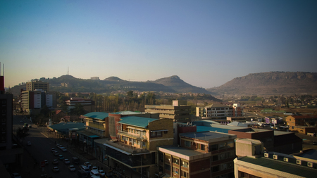 Aerial panorama view to Maseru, the capital of Lesotho