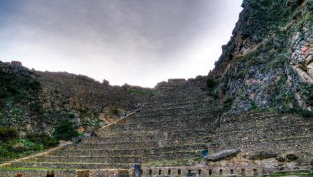 Polygonal masonry at Ollantaytambo archaeological site at Cuzco province, Peru