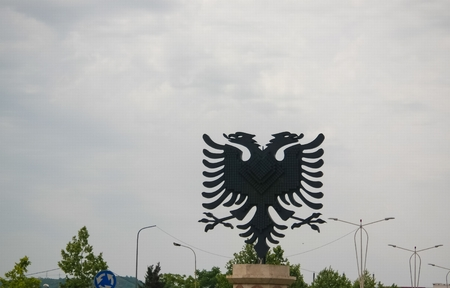 View to Eagle monument at the Eagle square in tirana, Albania Stok Fotoğraf