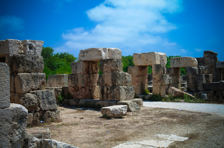 Remains Remains of tribune Hippodrome in ancient columns excavation site in Tyre at Lebanon Stock Photo