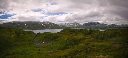 Panoramic view to Hardangervidda plateau and Votna lake, Norway