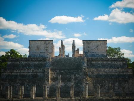 Exterior view to Templo de los Guerreros aka Temple of the Warriors at Chichen-Itza, Mexico 写真素材