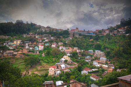 Aerial panoramic view to Fianarantsoa city at sunset in Madagascar Stok Fotoğraf