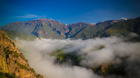 Aerial panoramic view to Colca canyon from the Tunturpay viewpoint at Chivay, Arequipa, Peru Stok Fotoğraf