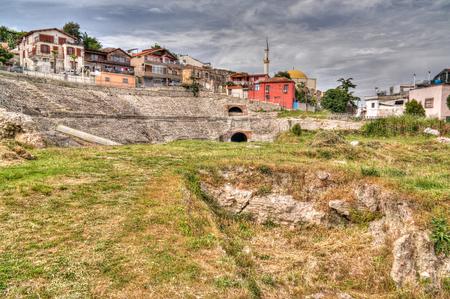 Exterior view to ancient roman Amphitheatre , Durres , Albania