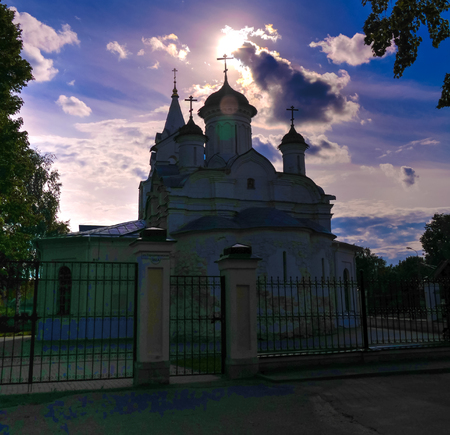 Exterior sunset view to The Church Of The Conception Of John The Baptist at Kolomna, Moscow region, Russia