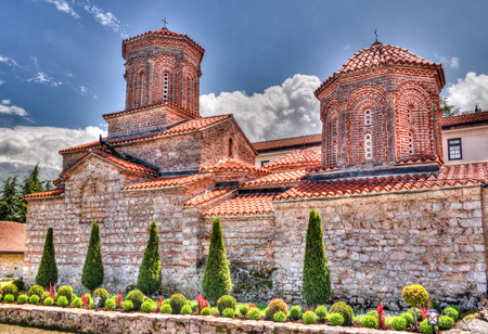 View to Saint Naum Monastery at Ohrid, North Macedonia