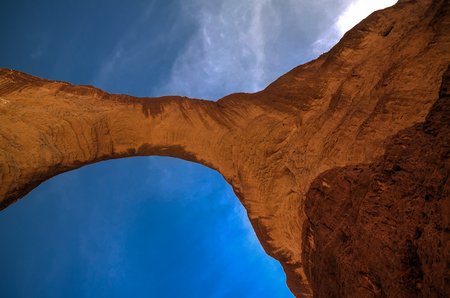 bottom up view Rock formation at plateau Ennedi aka Aloba arch , Chad