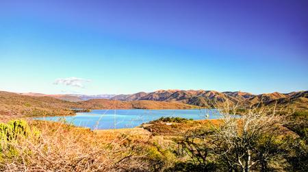 Landscape with Goedertroudam reservoir of Mhlatuze river at KwaZulu-Natal, South Africa