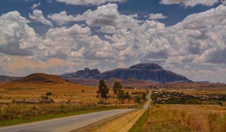 Landscape to Andringitra mountain range and Cardinals hat mountain at Ihosy, Madagascar