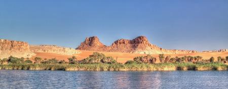 Panoramic view to Boukkou lake group of Ounianga Serir lakes at sunset , Ennedi, Chad