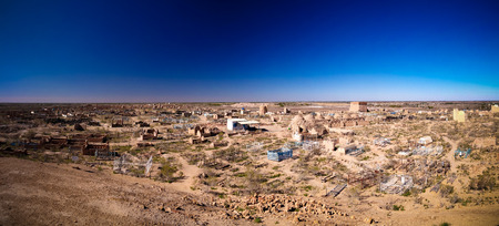 Panorama view to Mizdakhan cemetery at khodjeyli, Karakalpakstan, Uzbekistan Stock Photo