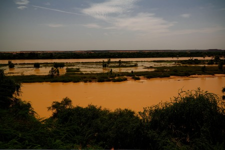 Aerial view to Niger river in Niamey , Niger
