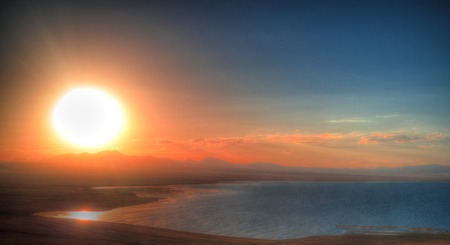 Aerial,Panorama of Song Kul lake at the sunset, Kyrgyzstan Banque d'images