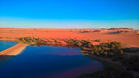 sunset aerial Panoramic view to Yoa lake group of Ounianga kebir lakes , Ennedi, Chad