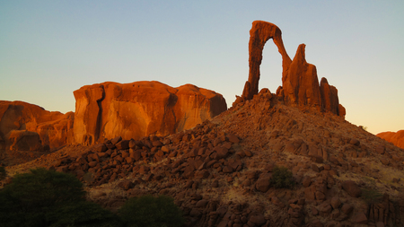 Abstract Rock formation at plateau Ennedi aka window arch at sunset, in Chad Stock fotó