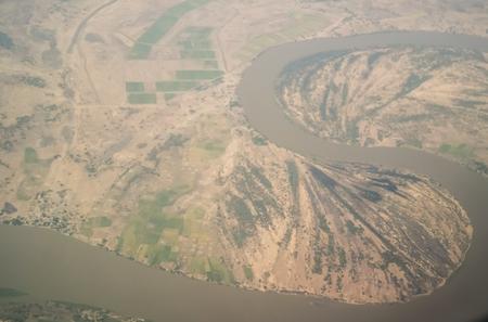 aerial aeroplane view to Chari or Shari River as natural border between Chad and Cameroon