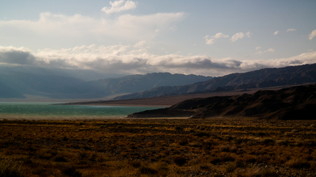 Panoramic view to Orto-Tokoy Reservoir at Chu river , Naryn, Kyrgyzstan