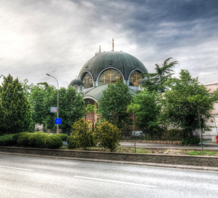 Exterior view to St. Kliment Ogridsky cathedral in Skopje, North Macedonia