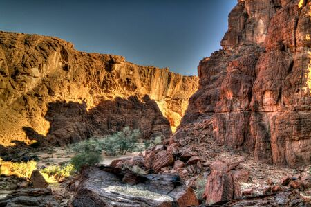 Panorama inside canyon aka Guelta dArchei, East Ennedi, Chad Banco de Imagens