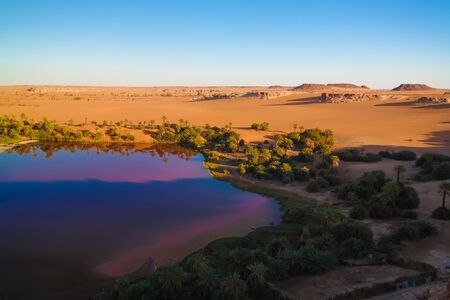 sunset aerial Panoramic view to Yoa lake group of Ounianga kebir lakes , Ennedi, Chad