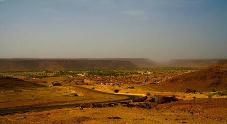 Panorama with Adrar mountain near Terjit, rocks and gorge , Mauritania