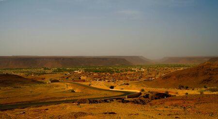 Panorama with Adrar mountain near Terjit, rocks and gorge , Mauritania