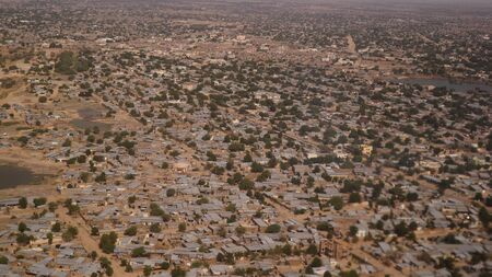 Aerial view to NDjamena and Chari or Chari river, capital of Chad Stock Photo - 127054027